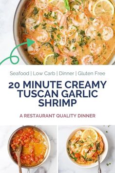 20 Minute Creamy Tuscan Garlic Shrimp a restaurant quality dinner the whole family will love! Pan Seared Shrimp nestled in a creamy garlic white wine sauce with spinach and burst tomatoes. #spinach #garlicbutter #creamygarlic #lowcarb #shrimprecipes #shrimpskillet #keto #dairyfree Clean Eating Recipes, Healthy Dinner Recipes, Vegetarian Recipes, Healthy Eating, Cooking With White Wine, Cooking Wine, Shellfish Recipes, Shrimp Recipes, Healthy Baked Chicken