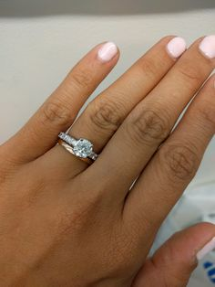 Show Me Your Mismatched Ring Sets Pic Heavy Yes Finally Found A Picture Of Diamond Engagement With Plain Wedding Band