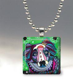 Australian Shepherd Dog Folk Art Jewelry - Pendant Glass Gift Art Heather Galler Gift- Dog Lovers Abstract Modern