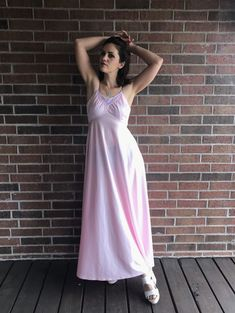 vintage pastel pink CROCHET LACE Maxi DRESS xs/s Grecian goddess draped hippie gown dress empire waist boho cut out lace prom boho Grecian Goddess, Lace Maxi, Vintage 70s, Pastel Pink, Crochet Lace, Trending Outfits, How To Wear, Etsy, Clothes