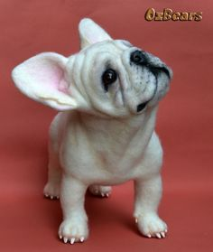 Needle Felted White French Bulldog Sculpture OOAK Dog Artist Ozbears Teddy Bear in Dolls & Bears, Bears, Artist | eBay