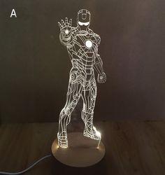 Hot Creative 3D LED Night Light Iron Man Acrylic 3 Style Atmosphere Lamp Novelty Lighting White color Table lamp-in Night Lights from Lights & Lighting on Aliexpress.com   Alibaba Group