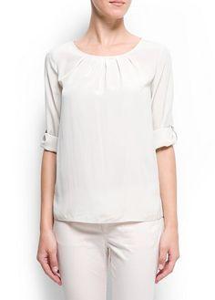 MANGO - CLOTHING - Tops - Satin-finish blouse
