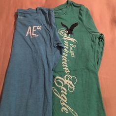AE Green & Blue Long Sleeved Shirts Bundle American Eagle green and blue long sleeved shirts size small bundle. Soft and comfy, good material, not super thin therefore not see through material. Sleeves can be rolled on the ends or left down to be a little longer than normal sleeves. Smoke free home. American Eagle Outfitters Tops Tees - Long Sleeve