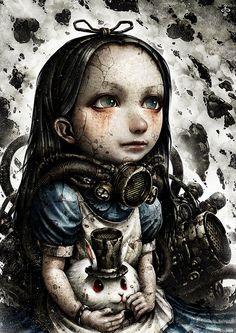 A-Alice by on DeviantArt Arte Horror, Horror Art, Arte Grunge, Steampunk, Alice Madness, Mixed Media Artwork, Wolf, Cyberpunk Art, Lewis Carroll