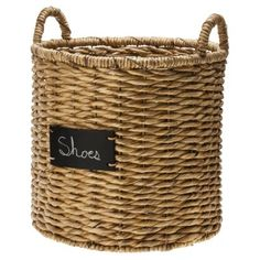 This might be a good basket for next to the living room built in. Smith & Hawken& Round Basket with chalkboard; Do It Yourself Organization, Office Organization, Organizing Ideas, Shoe Basket, Laundry Basket, Dear Lillie, Blanket Storage, Chalkboard Labels, Round Basket