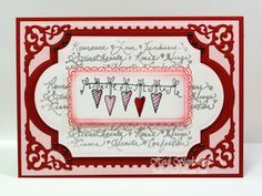String of Hearts Valentine Card - The Rubber Cafe`