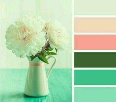 and teal Flora Palette~Design Seeds Color Scheme Design, Colour Schemes, Color Combos, Color Patterns, Spring Color Palette, Colour Pallette, Spring Colors, Pastel Palette, Color Harmony