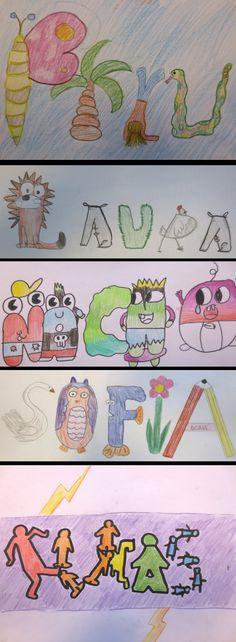 NOMBRE: Diseño de letras con formas de objetos, animales y personas. (6º EP). Colegio Alameda de Osuna.