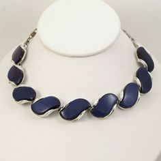 Vintage 1950s Necklace Cobalt Blue Lisner Collar Choker by Revvie1, $20.00