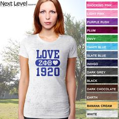 Zeta Phi Beta Sorority Printed Love and Date Burnout Tee $17.95 #Greek #Sorority #Clothing #Love #ZetaPhiBeta #Zeta