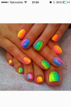 Blocked Rainbow Nail Art Design Rainbow Nails, Summer Toe Nails, Diy Nails, Cute Nails, Fancy Nails, Pretty Nails, Rainbow Nail Art Designs, Neon Nail Designs, Crazy Nail Designs