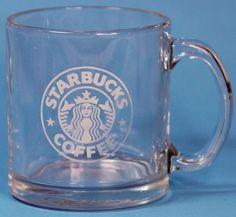 Starbucks Coffee Mug Cup Clear Glass Mermaid Logo Made in USA #Starbucks