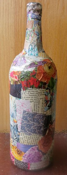 How to Decoupage a Wine Bottle - ThriftShopLife