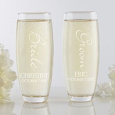 Bridal Couple Personalized Stemless Champagne Flute Set