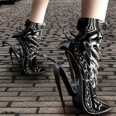 futuristic shoes, future girl, futuristic fashion, avant-garde fashion, futuristic style by Futurist Weird Fashion, Dark Fashion, Fashion Shoes, Pumps, Futuristic Shoes, Crazy Heels, Funky Shoes, Weird Shoes, Mode Shoes