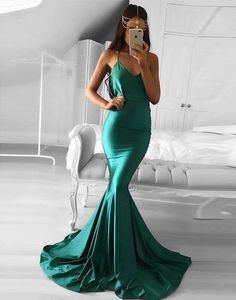 Green mermaid long prom dress, green evening dress, formal dress,4259