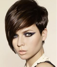 A short brown straight coloured Modern Rock-Chick hairstyle by Hooker & Young