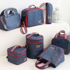 Denim Lunch Bag Thermal Food Picnic Lunch Bags for Women Kids Men Cooler Lunch Box Bag Tote Bolsa Termica Sac Lunch, Kids Lunch Bags, Kids Bags, Lunch Boxes, Delivery Bag, Picnic Bag, Basket Bag, Denim Bag, Small Bags