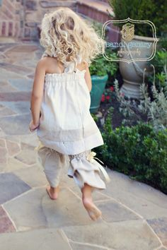 Truffle Ruffle Halter Dress - Linen and Cotton - Pick the size Newborn up to 12 Years by Boutique Mia. $44.00, via Etsy.