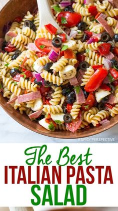 The Best Italian Pasta Salad Recipe: Made with fresh ingredients and bursting with flavor this is the most perfect Italian style pasta salad! The Best Italian Pasta Salad Recipe (VIDEO) - A Spicy Pe Pasta Salad Ingredients, Easy Pasta Salad Recipe, Best Pasta Salad, Salad Recipes Video, Pasta Salad Italian, Healthy Salad Recipes, Veggie Pasta Salads, Pasta Salad Recipes Cold, Tri Color Pasta Salad