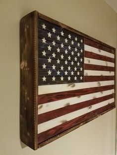 3 foot Rustic American flag concealment magnetic strip Hand rubbed polyurethane finish Shelves can be added anywhere customer would like American Flag Art, Wooden American Flag, Wooden Flag, Wooden Diy, Hidden Gun Storage, Wood Shop Projects, Fun Projects, Project Ideas, Family Wall Decor