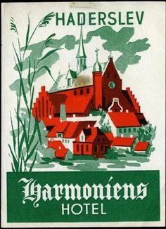 Harmoniens Hotel - HADERSLEV / DENMARK - Old Luggage Label