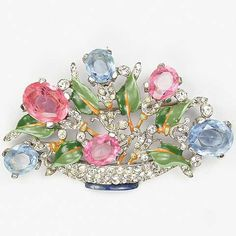Trifari 'Alfred Philippe' Pink and Blue Topaz Medium Pastel Flower Basket Pin…