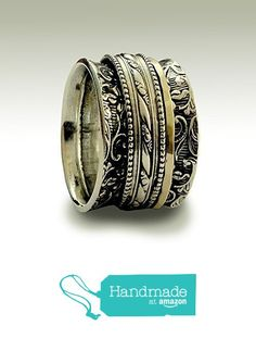 Gold and silver Spinner rings on Sterling silver wide band with a vine design Wedding band for men and women Mixed metal meditation fidget ring - In my Heart R1209D from Artisanlook https://www.amazon.com/dp/B015NQKFXW/ref=hnd_sw_r_pi_dp_GB1QybFPSHAGX #handmadeatamazon
