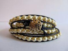 Navy Leather Pearl Beaded Wrap Bracelet by koatesdesigns on Etsy, $70.00