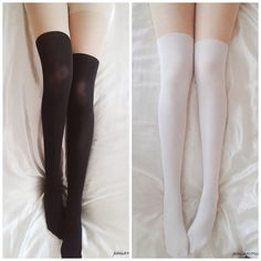 White/Black Basic Fake Over Knee Thigh High Tights CP130053