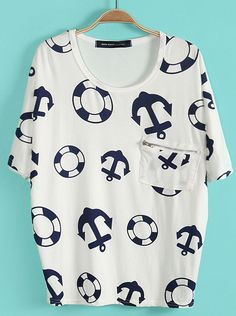 94dd9a1e550 SheIn offers White Batwing Sleeve Anchor Lifebuoy Print T-Shirt   more to  fit your fashionable needs.