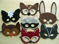 felt woodland animal masks