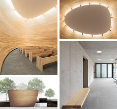 The Kamppi Chapel of Silence in Helsinki, was built as a space for meditation and contemplation, having no windows but for a skylight, allowing light to beam down, it is constructed of wood, concrete and glass. Skylight, Helsinki, Beams, Concrete, Meditation, Construction, Windows, Mirror, Architecture