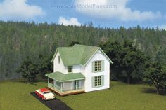 Victorian House done in styrene scaled siding.  (HO scale Model Railroad)