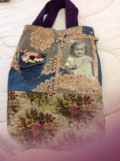 Recycled jean tote