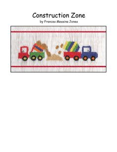"""Smocking Plate OR Kit """"Construction Zone"""" by Frances Messina Jones Smocking Plates, Smocking Patterns, Embroidery Patterns, Hand Embroidery, Smocking Tutorial, Stitch Patterns, Design Plat, Plate Design, Sewing Hacks"""