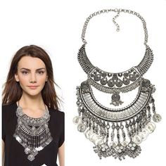 2016 Collar ZA Necklaces & Pendants Vintage Crystal Maxi Choker Statement Silver Collier Femme Boho Big Fashion Women Jewellery-in Chain Necklaces from Jewelry & Accessories on Aliexpress.com | Alibaba Group