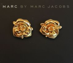 NWT Authentic MARC BY MARC JACOBS Jerrie Rose Stud Earrings Oro/Gold Sold out! #MarcbyMarcJacobs #Stud