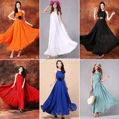 New Summer Women Maxi Long Chiffon Sun Beach Ball Gown Evening Dress Sleeveless #Unbranded #BohemianStyle #Casual