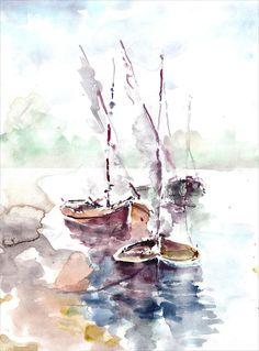 """Boats Are Resting"" • Faruk Koksal, 2010 {watercolor}"