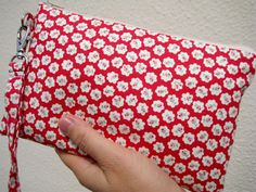 WEDDING CLUTCH, Gift Pouch 2 pockets bridesmaid clutch wristlet handmade wedding gift --- Tiny flowers by bagonebagshop on Etsy