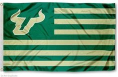 USF Bulls Stripes Flag measures 3'x5', is made of polyester, offers double stitched flyends for durability, has two metal grommets, and is viewable from...