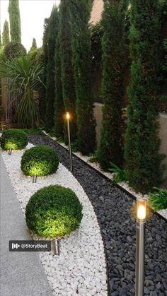 Driveway Landscaping, Small Backyard Landscaping, Landscaping With Rocks, Modern Landscaping, Landscaping Design, Backyard Patio, Hillside Landscaping, Paver Walkway, Backyard Privacy