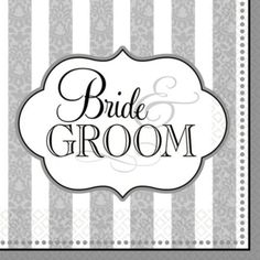 36 Bride and the Groom Wedding Party 3ply Disposable 6.5in Napkins