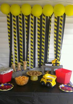 second birthday construction theme food table and backdrop! Such a fun. Huxleys second birthday construction theme food table and backdrop! Such a fun. - -Huxleys second birthday construction theme food table and backdrop! Such a fun. Construction Party Decorations, Construction Birthday Parties, 3rd Birthday Parties, Birthday Balloons, Birthday Party Decorations, 2nd Birthday, Construction Theme Cake, 3 Year Old Birthday Party Boy, Construction Crafts