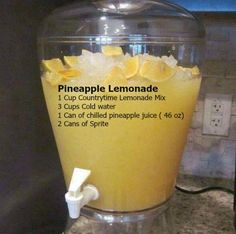 Pineapple Lemonade 1 Cup Countrytime Lemonade Mix 3 Cups Cold water 1 Can of chilled pineapple juice ( 46 oz) 2 Cans of Sprite