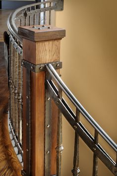 stair newel post designs | NOMMA award-winning interior railing for a mountain home in South ...