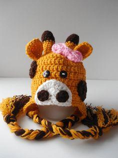Giraffe Baby Girl Hat Crochet by ShelleysCrochetOle on Etsy, $16.00