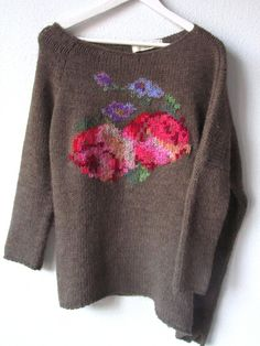 Pretty roses-- duplicate stitch on recycled sweaters.